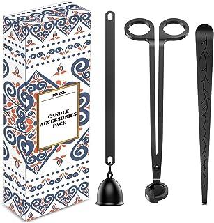 RONXS - Ensemble d'accessoires de bougie 3 en 1 avec coupe-mèche, éteignoir à bougie, crochet plongeur à mèche avec emball...