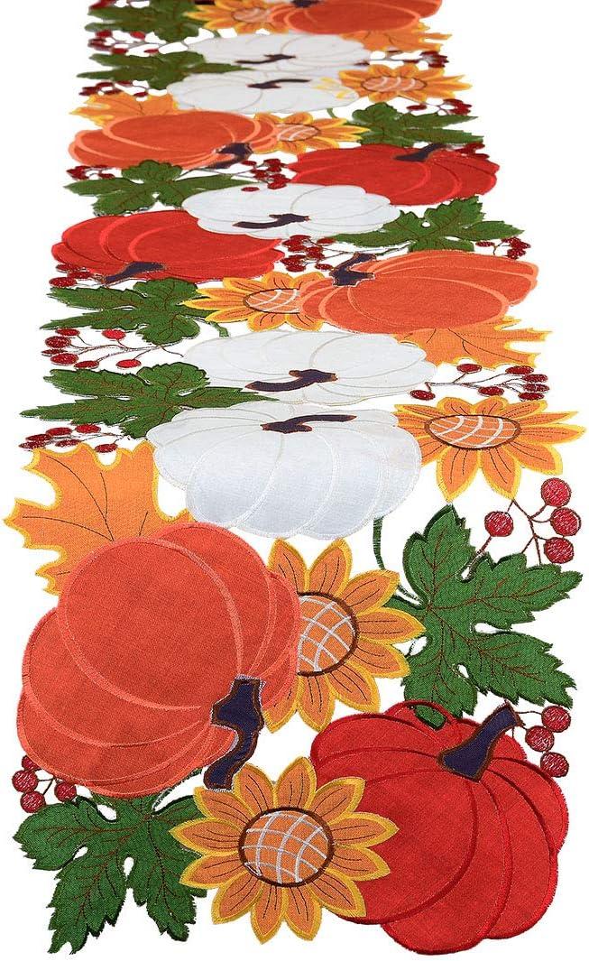 Award Simhomsen Fall Many popular brands or Autumn Harvest Pumpkins Thanksgi Runner Table