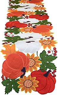 Simhomsen Fall or Autumn Harvest Pumpkins Table Runner, Thanksgiving and Halloween Decorations, Applique Embroidery (14 × 69 inch)