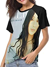 LANDONL Cher Dancing Believe Womens Short Sleeve Raglan Baseball Tee Black