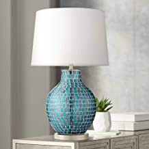 Modern Table Lamp Mosaic Teal Tiles Glass Jar Shaped White Drum Shade for Living Room Family Bedroom Bedside - 360 Lighting
