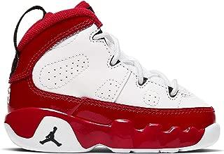 Toddler Air 9 Retro Basketball Shoes (6, White/University Red/Black)