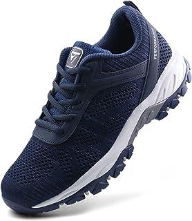 حذاء JABASIC نسائي للمشي لمسافات طويلة في الهواء الطلق مخيط أحذية رياضية (10، كحلي)