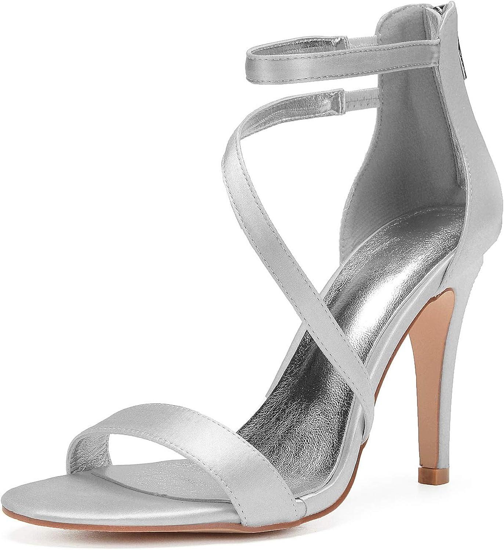 Elobaby Frauen Hochzeit Schuhe Party Ktzchen Satin Peep Toe ED-741 Kleid Kleid Prom nach ma   10,5 cm Ferse