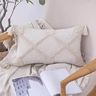 MIULEE Decorative Throw Pillow Cover Tribal Tassel Boho Woven Tufted Lumbar Pillowcase Soft Cushion Case for Sofa Couch Be...