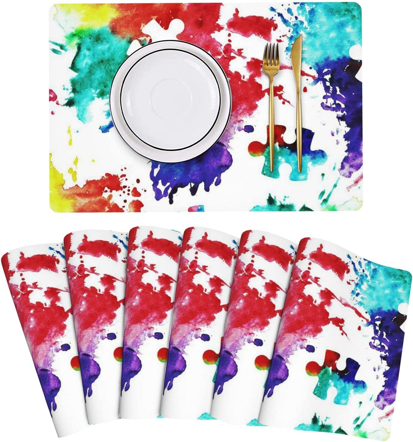 Puzzle Autism Awareness Watercolor New Miami Mall Orleans Mall Splatter Tab Leather Placemat