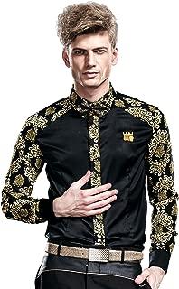 Mens Fashion Shirts Slim Fit Printed Wrinkle Free Long Sleeve