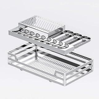 Organisateur d'armoire de type tiroir à double couche, panier de tirage intégré dans l'armoire en acier inoxydable, panier...