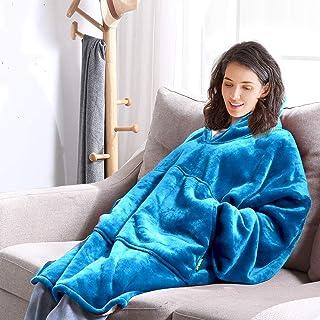 Blanket Hoodie Blanket Ultra Plush Comfy Sweatshirt Huggle Fleece Warm Blue