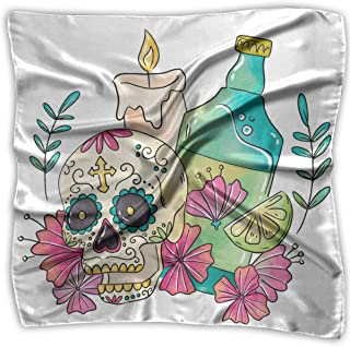 Square Scarf Women's Square Headscarf Square Neck Head Scarf Scarves Sugar Skull With Candle And Tequila Ladies Square Hair Scarves 39