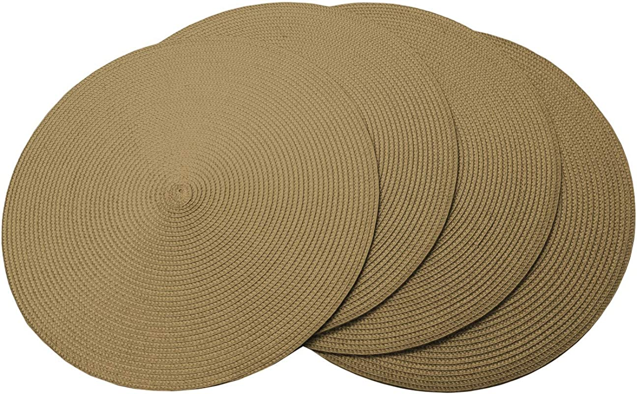 4pcs Luxury Fine Woven Placemat Round 15 Diameter Table Dinner Place Mats Gold