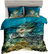 Jwellking 3D Turtle Bedding Sets for Kids,3 Piece Queen Duvet Cover Set,with Hide Zipper,1 Duvet Cover+2 Turtle Pillow Shams.Gifts to Boys,Girls,Teen,Child,Friends,Family,No Comforter