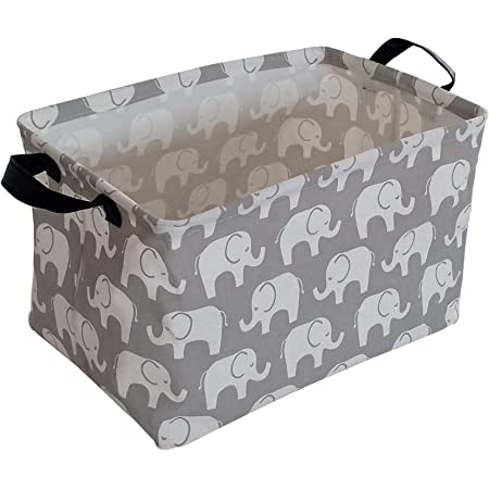KUNRO Rectangle Toy Bin Waterproof storage organizer for Nursery Hamper Home decor Closet Kids Bedroom Laundry Baby Gift Shelf Baskets(Elephant)