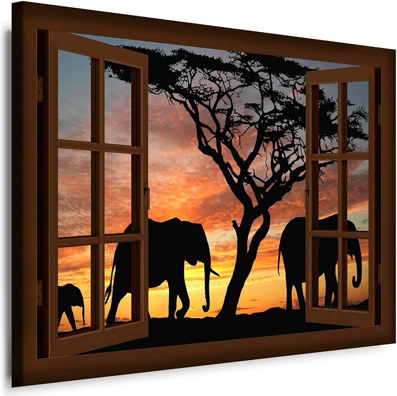 BOIKAL XXL32-12 Fensterblick Leinwand bild 3D Illusion Illusion Illusion - FERTIG GERAHMTE BILDER Kein POSTER     Wandbild 100 x 80 cm Braun   Farbe - Große 21 Variante wählbar   Fenster Kunstdruck Landschaft Bäume Afrika, Elefanten B0173PY46U b9dd4b