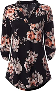 Womens Floral Printed Tunic Shirts 3/4 Roll Sleeve Notch Neck Tunic Top