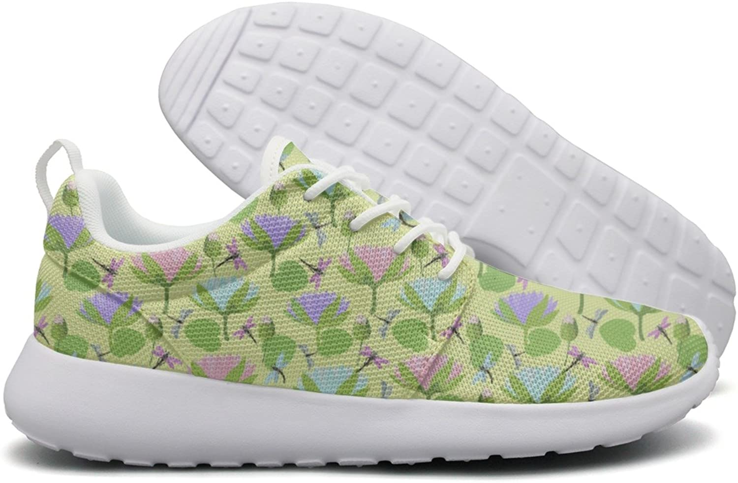 Dragonflies And Lotus Flowers Woman's Net Design Running shoes Funny Cute