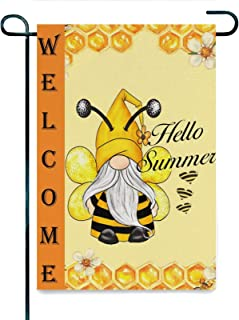 Welcome Summer Honey Bee Gnome Home Decorative Garden Flag Vertical Double Sided Seasonal Rustic Yard Farmhouse Burlap Out...