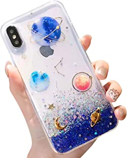 BOFTALE Clear Case for iPhone Xs Max, Glitter Bling Sparkle Design with Gold Moon Stars Slim Soft TPU Case Compatible with iPhone Xs Max 6.5 Inch(Blue)
