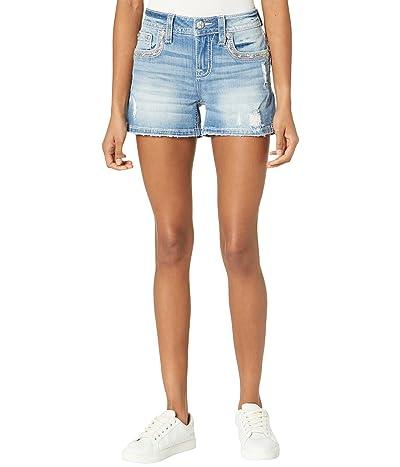 Miss Me Sequin Trim Flap Border Mid-Rise Shorts in Light Blue