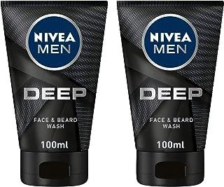 NIVEA, MEN, Face Wash, Deep, Face & Beard, 2 X 100ml