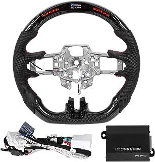Volante profissional de corrida, volante de carro de fibra de carbono tipo D de fundo plano com visor LED indicador de mud...
