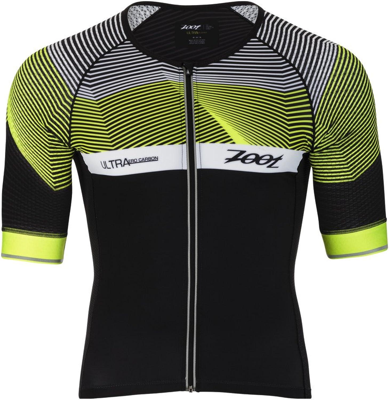 Zoot Men's Ultra Short Sleeve Aero Tri Jersey  Performance Triathlon Top with Carbon Fiber and 2 Pockets