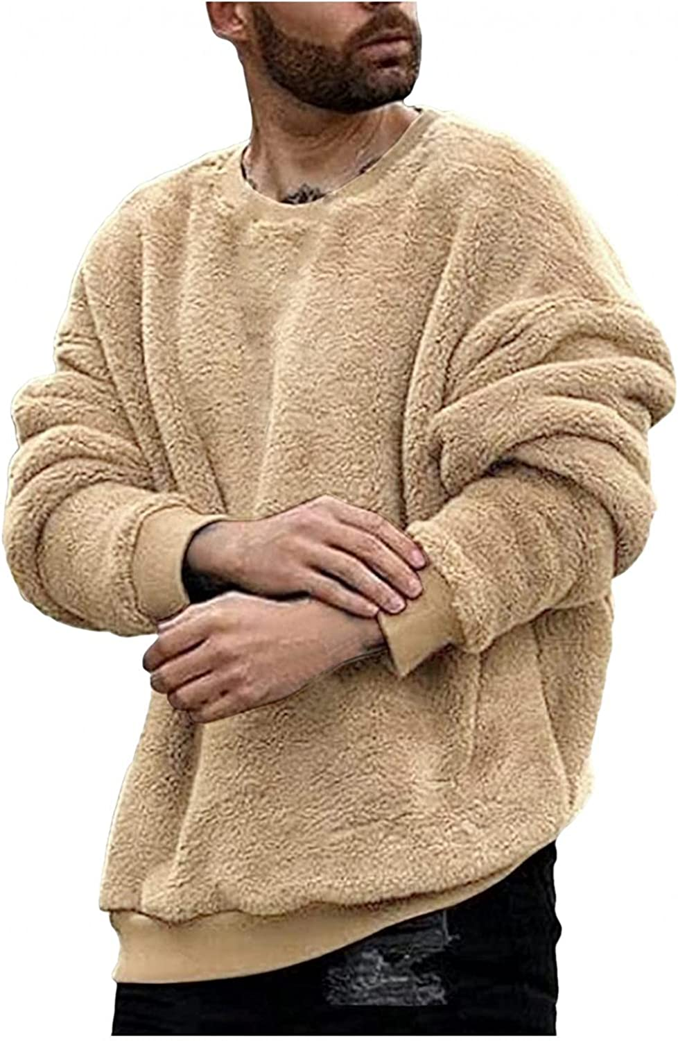 Men Fuzzy Pullover O Neck Sweatshirt Long Sleeve Sport Front Pocket Elegant Fall Outerwear Polyester Mens Hoodies Pullover