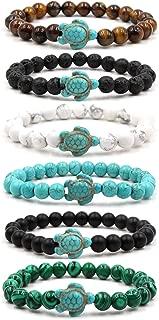 EVELICAL 6Pcs Natual Bead Bracelet for Men Women Lava Rock Stone Turtle Bracelet Tiger Eye Elastic