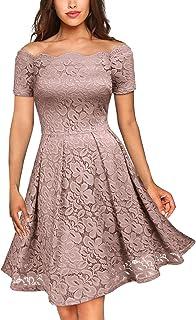 Miusol Vintage Encaje Floral Coctel Vestido Corta para Mujer
