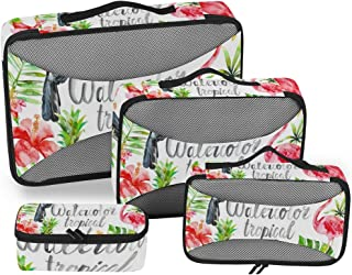 Watercolor Tropical Clipart Summer Flamingo Flower Packing Cubes 4 Set Travel Organizer Accessories Storage Bag for Luggage Suitcase