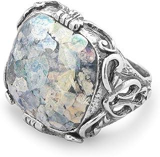 Ornate oxidado anillo de plata de ley tamaño grande suave cuadrado vidrio romano–tamaño P 1/2