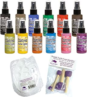 Ranger Tim Holtz Distress Oxide Spray Spring 2019 Release 2 New Colors, 12 Bottle Bundle Including Bonus Mixing Tray and Foam Paint Dobbers