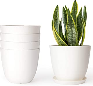 Mkono 5.5 Inch Plastic Planters Indoor Set of 5 Flower Plant Pots Modern Decorative Gardening Pot with Drainage for All House Plants, Flowers, African Violets, Cream White