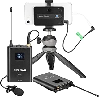 FULAIM MX20 Wireless Lavalier Microphone System for iPhone DSLR Camera Android Cell Phones, UHF 4-Channel Wireless Lapel Microphone System for Professional Video Recording, Interview, Youtube and Vlog