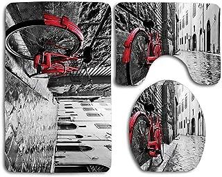 Huayuanhurug Classic Bike on Cobblestone Street in Italian Town Leisure Charm Artistic Photo Three-Piece Toilet Seat Pad Custom