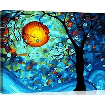 Pintar por Numeros Kits Rana con gafas DIY Lienzo Pintura por N/úmeros para Adultos Ni/ños con Pinceles y Pinturas Decoraciones para el Hogar 40x50cm Sin Marco