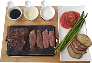Cooking Stone Set by Blue Nest - Hibachi Grilling Steak Stone w Ceramic Side Dishes and Bamboo Platter