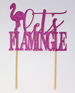 All About Details Flamingo Theme Let's Flamingle Cake Topper, 1PC, Bridal Shower, Engagement Party, Wedding, Photo Props (...