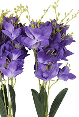 Fourwalls Polyester Fabric and Plastic Artificial Lily Flower Bunches (20 cm x 20 cm x 55 cm, Blue, Set of 2)