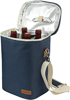 4 Bottle Insulated Wine Tote, Personalized Wine Carrier Bag, Travel Padded Wine Cooler with Corkscrew Opener and Adjustable Shoulder Strap, Perfect Wine Lover's or Wedding Gift