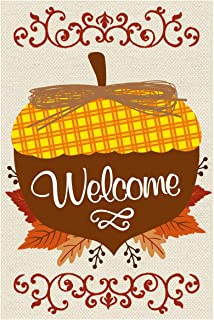 Texupday Welcome Fall Acorn Maple Leaves Decoration Double Sided Burlap Garden Flag Autumn Outdoor Flag 12