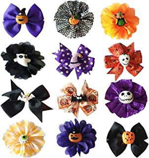 PET SHOW Pack of 12 Halloween Dog Collar Charms Flower Bows Bowties Accessories for Cat Puppy Collars Attachment Small Dogs Grooming