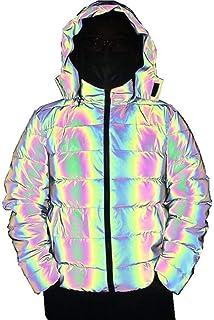DUTUI Chaqueta acolchada de algodón reflectante colorida, para hombre y mujer, suelta y gruesa, con capucha, cálida y refl...