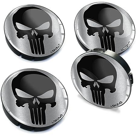 Skinoeu 4 X 60mm Silikon Nabenkappen Kappen Punisher Skull Schädel Totenkopf Felgendeckel Radkappen Radnabendeckel Nabendeckel Auto Tuning C 79 Auto