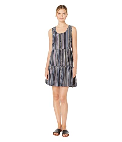 Mod-o-doc Sandcastle Stripe Button Front Tiered Tank Dress (Navy) Women
