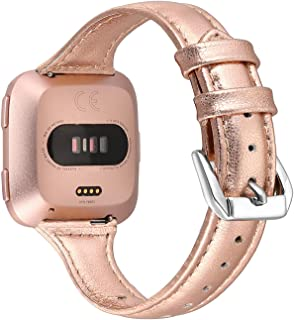 bayite Bands Compatible with Fitbit Versa 2 / Fitbit Versa Lite/Fitbit Versa, Slim Genuine Leather Band Replacement Accessories Strap Women