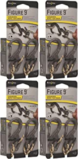 Nite Ize Figure 9 Carabiner Small Rope Tightener Black with Rope (4-Pack of 2)