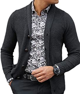 Men's Long Sleeve Shawl Collar Cardigan Sweater Button Down Knitted Cardigan