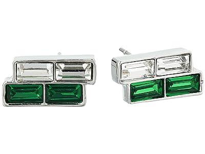Vince Camuto Small Stud Earrings (Rhodium/Crystal/Dark Moss Green) Earring
