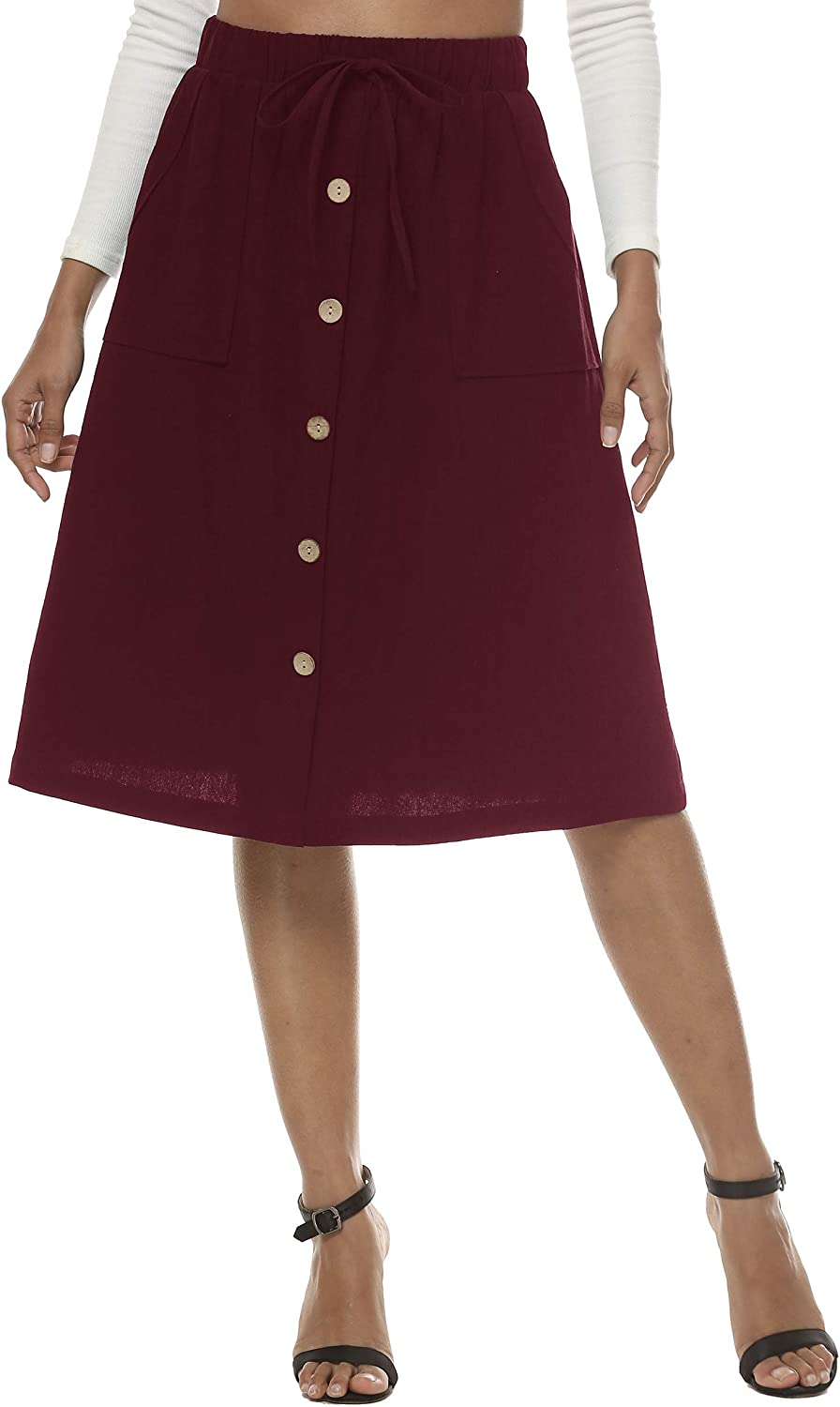 LNX Womens High Waisted Button Front Linen Skirts Drawstring A-Line Midi Skirts with Pockets
